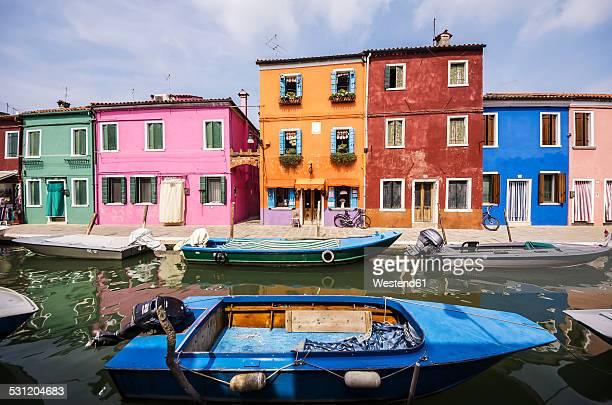 Italy, Veneto, Venice, Burano, Colourful houses by the canal