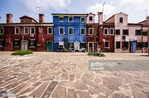 Italy, Veneto, Venice, Burano, Old colourful houses