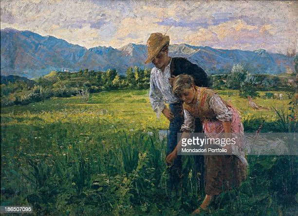 Italy Veneto Venice Ca' Pesaro International Gallery of Modern Art Whole artwork view Peasant girl in the fields followed by a young suitor