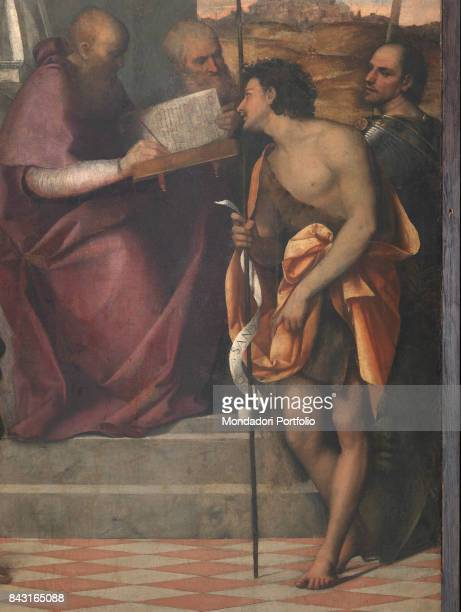 Italy Veneto Venice Chiesa di San Giovanni Crisostomo Detail Saint John Chrysostom writing a holy book surrounded by the Saints Nicholas John the...