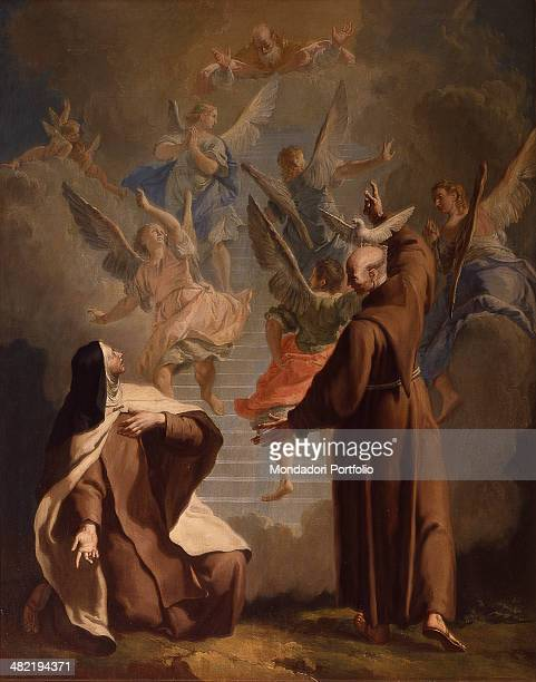 Italy Veneto Venice Church of Saint Francis della Vigna Whole artwork view The saint is showing a nun the stairs that lead to heaven surrounded by...