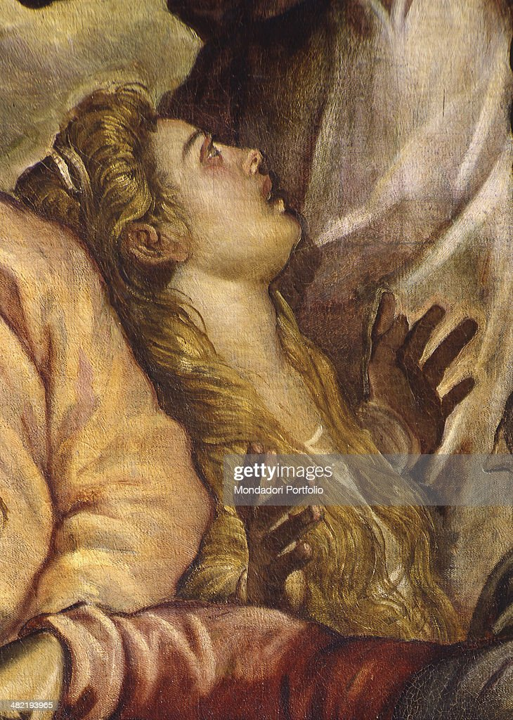 Italy, Veneto, Venice, Confraternity of the Scuola Grande di San Rocco. Detail. Detail depicting Magdalene.