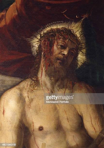 Italy Veneto Venice Confraternity of the Scuola Grande di San Rocco Detail Christ's face