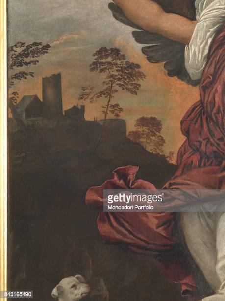 Italy Veneto Venice Gallerie dell'Accademia Detail Detail of Saint Raphael the Archangel's cloth In the background a village on a hill