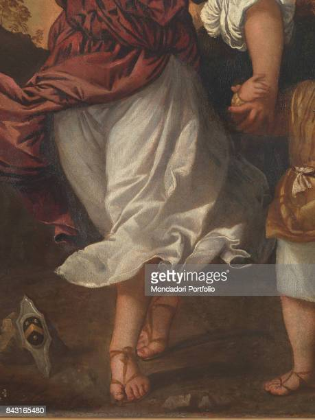 Italy Veneto Venice Gallerie dell'Accademia Detail Saint Raphael the Archangel holding the young Tobias by the hand On the ground the coat of arms of...