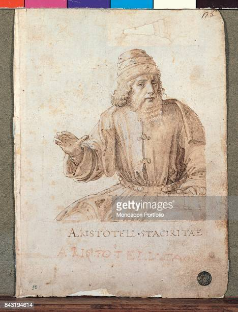 Italy Veneto Venice Gallerie dell'Accademia Whole artwork view Greek philosopher Aristotle with one hand open and the other one resting on a book