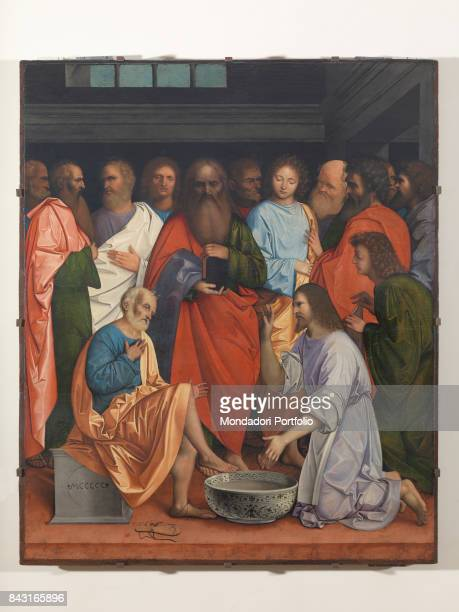 Italy Veneto Venice Gallerie dell'Accademia Whole artwork view The apostles watching Jesus Christ washing Saint Peter's feet
