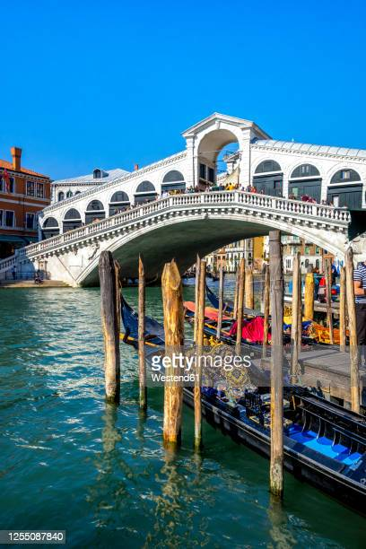 italy, veneto, venice, gondolas moored in front of rialto bridge - venice italy stock pictures, royalty-free photos & images