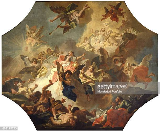 Italy Veneto Venice Major School of Saint John the Evangelist Whole artwork view Vault depicting a vision from the Revelation Book