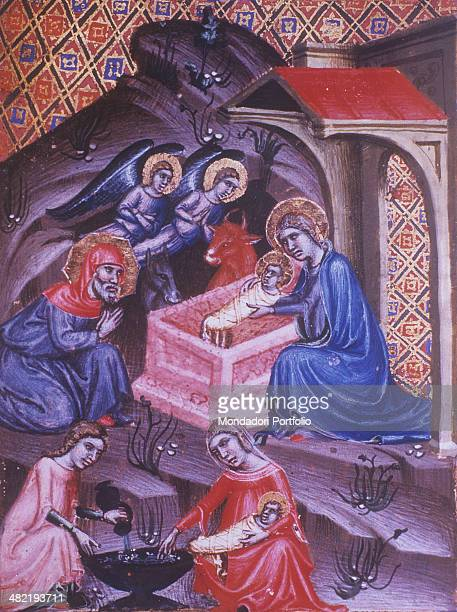 Italy Veneto Venice Marciana Library Detail Miniature representing two scenes of the adoration of the Child and Nativity