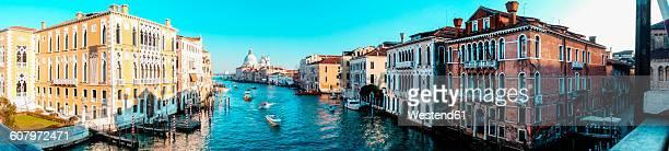 Italy, Veneto, Venice, Panorama, Canal, Palazzo Sant Angelo left and Santa Maria della Salute in the background