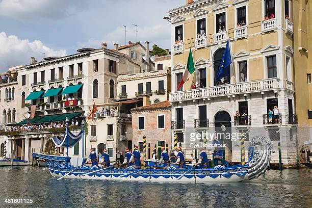 Italy Veneto Venice Participants in the Regatta Storico historical Regatta held in September wearing traditional costume and rowing ornately...