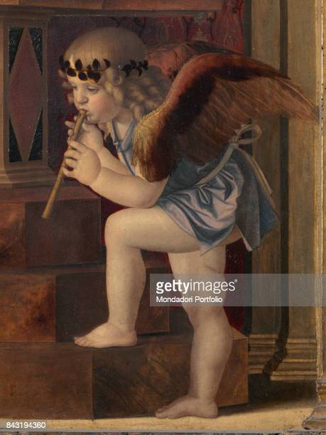 Italy Veneto Venice Santa Maria Gloriosa dei Frari Basilica sacristy Detail Central panel musician angel on the right
