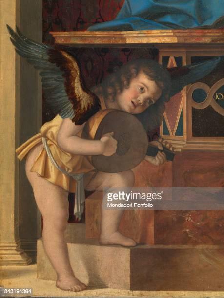 Italy Veneto Venice Santa Maria Gloriosa dei Frari Basilica sacristy Detail Central panel musician angel on the left