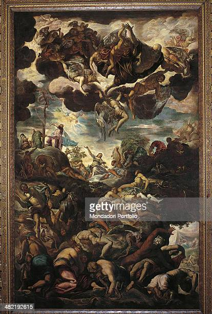 Italy Veneto Venice Scuola Grande di San Rocco Whole artwork view A tangle of bodies struggle against snakes in the lower part in the upper part God...