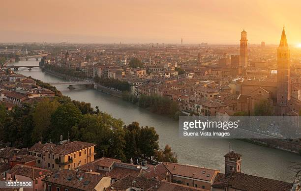 Italy, Veneto, Verona and Adige river