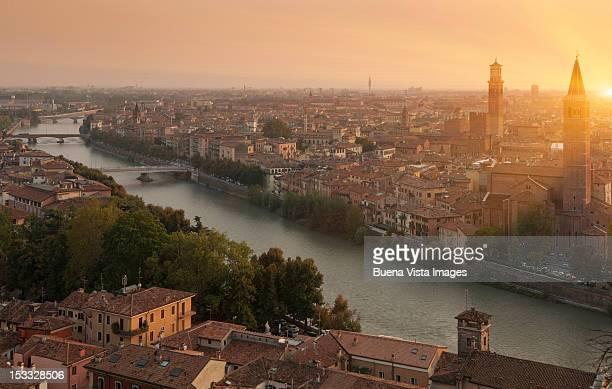 Italy, Veneto, Verona and Adige river