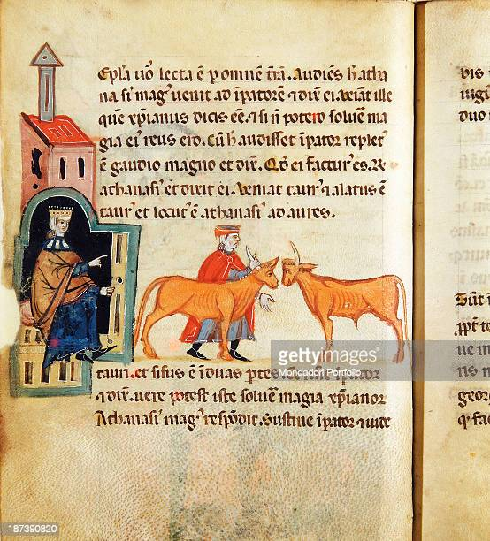 Italy Veneto Verona Biblioteca Civica Detail Athanasius the magician answers to Daciano's appeal He shows his ability to the king by dividing an ox...