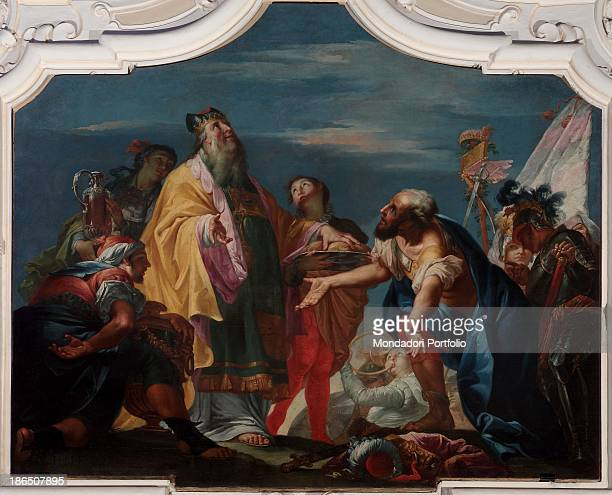 Italy Veneto Verona Bovolone San Biagio' s Oratory Whole artwork view At the center of the composition Abraham and Melchizedek exchanging gifts...