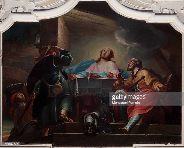 Italy Veneto Verona Bovolone San Biagio' s Oratory Whole artwork view In an intimate inner space Jesus in traveler clothing reveals his resurrection...