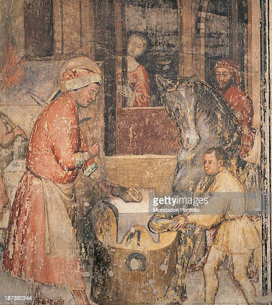 Italy, Veneto, Verona, Chiesa di Sant'Anastasia, All, Miracle of Saint Eligius, While the saint works as a blacksmith and he shoes a horse's hoof on...