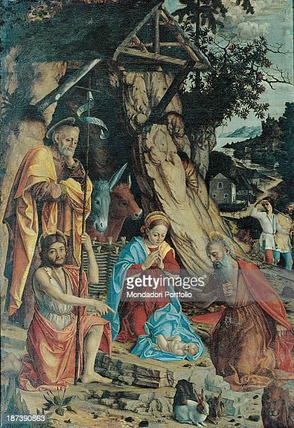 Italy Veneto Verona Museo di Castelvecchio All Crib scene depicting the Virgin Mary St Joseph St John and St Jerome in draped mantles around the...