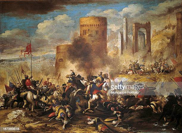 Italy Veneto Verona Museo di Castelvecchio All In a smoky war scene two formations of armies fight with a red flag horses bayonets rifles and lances...