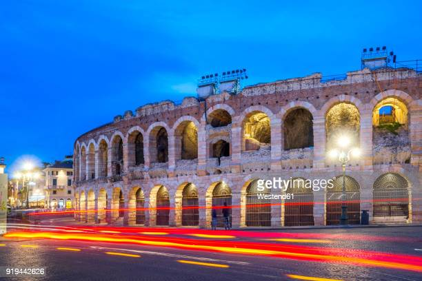 Italy, Veneto, Verona, Old town, Amphitheatre, light trails, blue hour