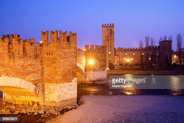 Italy, Veneto, Verona. Ponte Scaligero And Castelvecchio
