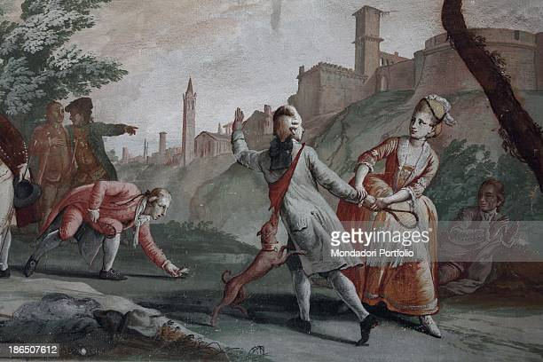 Italy Veneto Verona Saint Micheal Extra villa Spolverini Buri Detail A daily life moment of eighteenthcentury upperclass two young people with a dog...