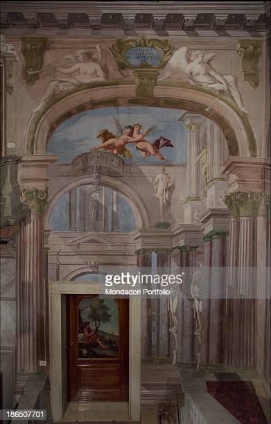 Italy, Veneto, Vicenza, Bassano del Grappa, Villa Cà Erizzo Luca, Whole artwork view, Illusionary architecture with arches and landscapes, Above, two...