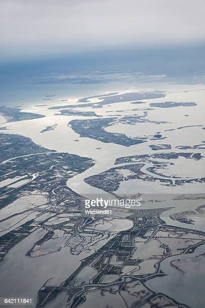 italy, venice, aerial view of lagoons - insel stock pictures, royalty-free photos & images