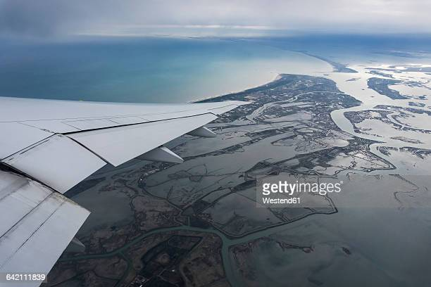 italy, venice, aerial view of lagoons, wing - insel stock pictures, royalty-free photos & images