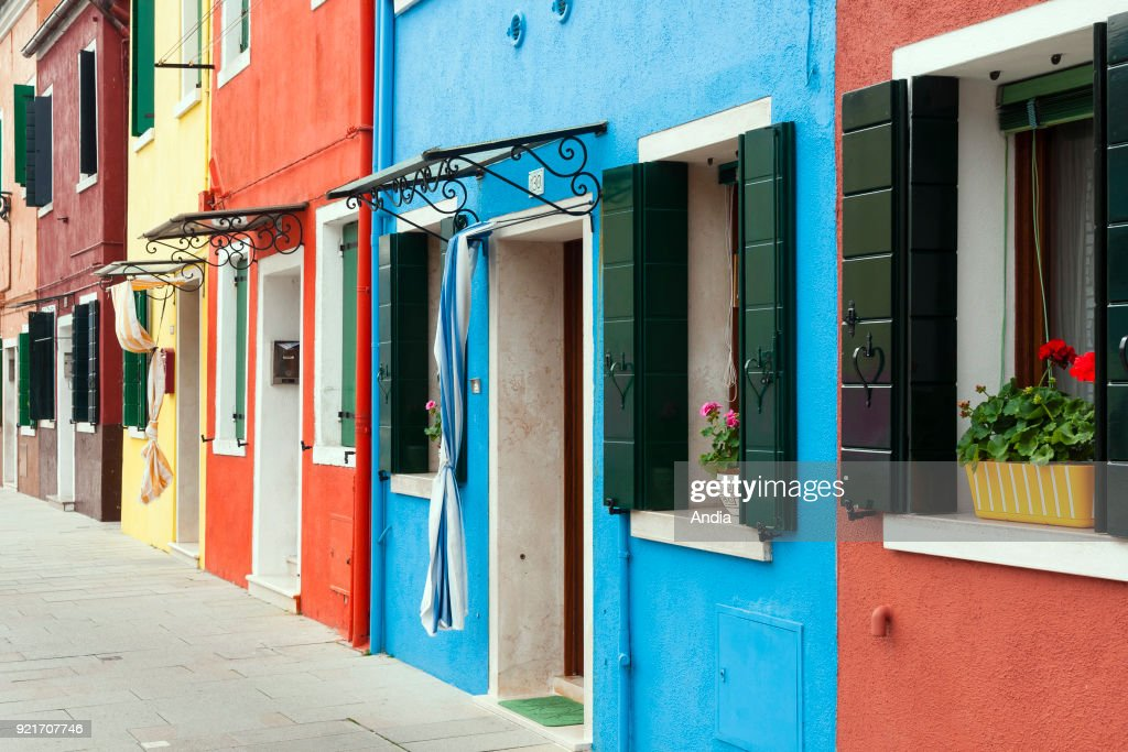 Burans island, houses with colourful facades.
