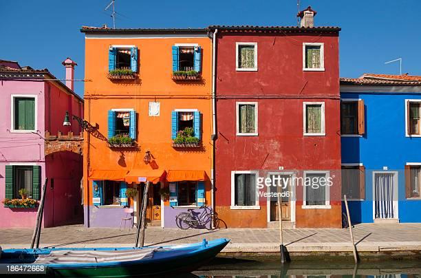 Italy, Venice, Colourful houses and sleepy canal on Burano island