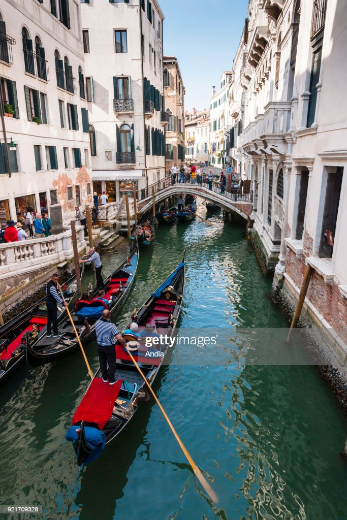 Gondoliers in the district of St. Mark. : News Photo