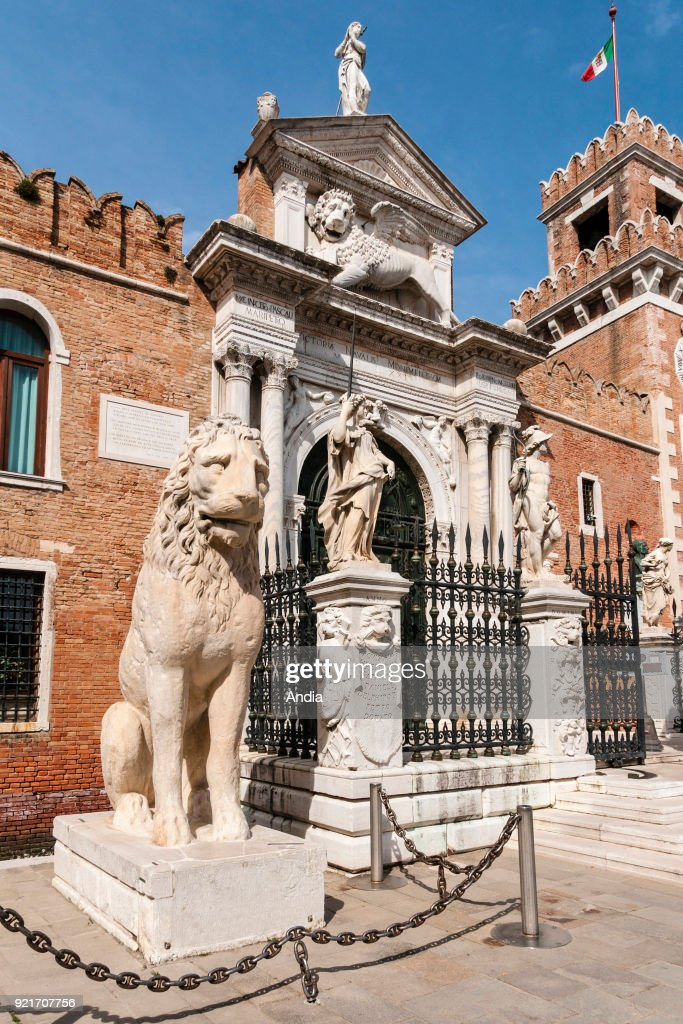 Greek lions at the entrance to the dockyards of Castello District.