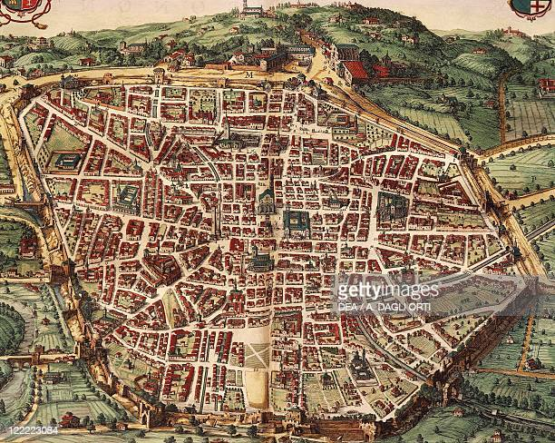 Italy Venice Map of Bologna in 1600 engraving from Theatrum Civitatum et Admirandorum Italiae by Jean Blaeu Amsterdam 1663