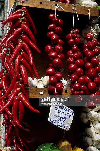 Italy Venice Market Scene With Peppers Pepperoncino Piccante And Garlic