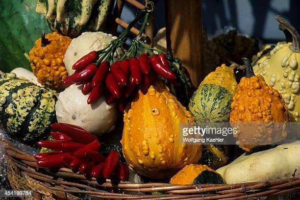 Italy Venice Market Scene With Squash Pepperoncino Piccante