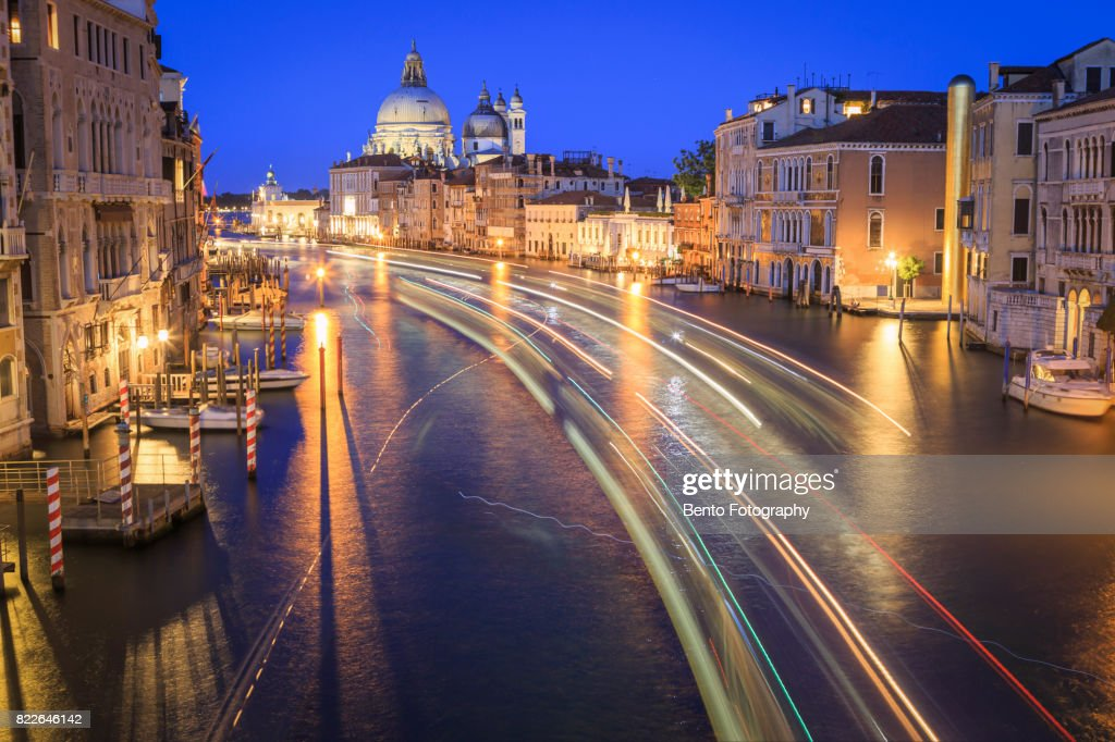 Italy, Venice, night view of canal in city : Stock Photo