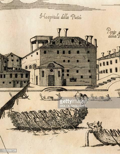 Italy Venice Perspective view of the Grand Canal with the Ospedale della Pieta engraving by A Porzio and A Della Via 1686