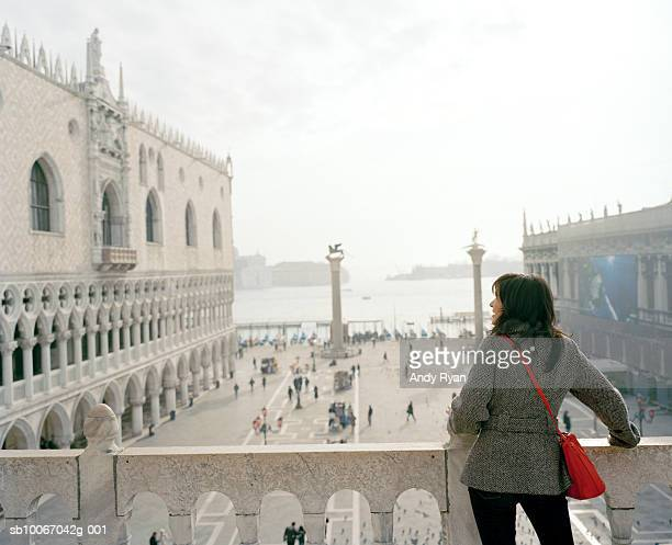 Italy, Venice, Piazza San Marco, tourist at Doge palace terrace