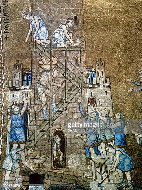 Italy Venice Saint Mark's Basilica North vault Construction of the tower of Babel Mosaic of the 13th century