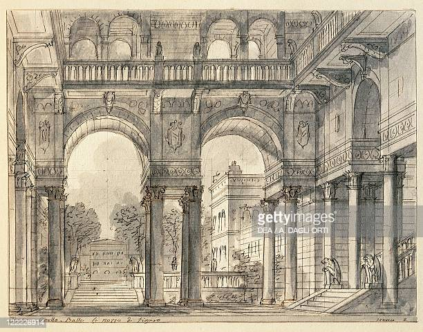 Italy Venice Sketch for the scenic design by Francesco Bagnara scene two of The Marriage of Figaro or the Day of Madness by Wolfgang Amadeus Mozart...