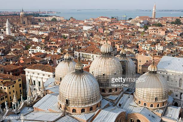 italy, venice, view from campanile, basilica san marco in foreground - basilica di san marco foto e immagini stock
