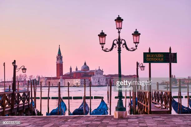 italy, venice, view of giudecca from st mark's square with gondolas - venise photos et images de collection