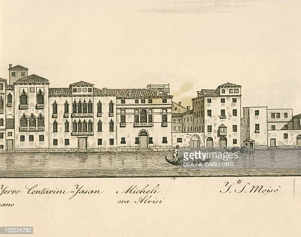 Italy Venice View of Teatro San Moisè on the Grand Canal engraving by A Quadri 1828