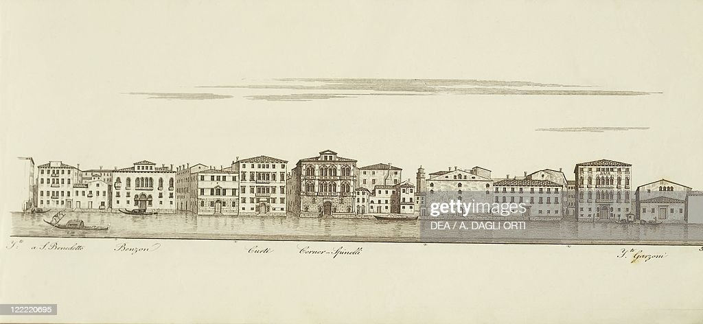 Italy, Venice, View of Teatro Sant'Angelo on the Grand Canal, engraving by A. Quadri, 1828 : News Photo