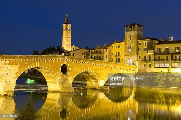 Italy, Verona, Ponte Pietra at sunset